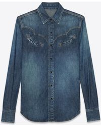 Saint Laurent - Western Shirt In Faded Blue Denim - Lyst