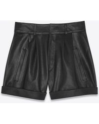 Saint Laurent - High-waisted Shorts In Black Leather - Lyst