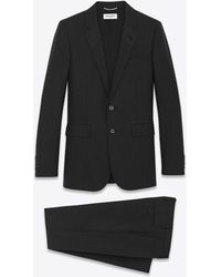 Saint Laurent Classic Suit In Black And Anthracite Striped Wool