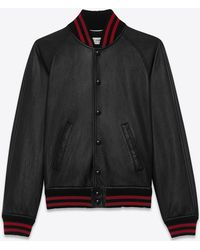 Saint laurent Black And Red Teddy Leather Baseball Jacket in Black ...
