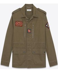 Saint Laurent - Military Parka With Indian Patch In Khaki Gabardine - Lyst