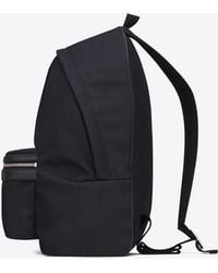 Saint Laurent - Classic Hunting Backpack In Navy Blue Nylon Canvas And Black Leather - Lyst