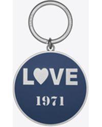 """Saint Laurent - """"love 1971"""" Key Ring In Nickel Toned-metal And Blue Enamel - Lyst"""