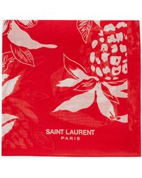 Saint Laurent - Classic Bandana In Red And Off White Hawaiian Hibiscus Printed Cotton Voile - Lyst