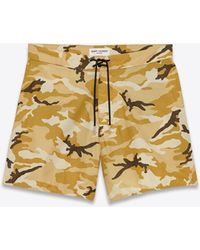 Saint Laurent - Board Shorts In Beige Ottoman Camouflage Printed Cotton And Nylon - Lyst