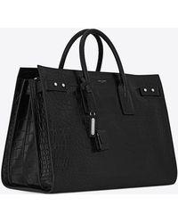 Saint Laurent - Large sac de jour en cuir embossé crocodile - Lyst