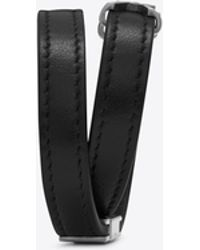 Saint Laurent - Ysl Double Wrap Bracelet In Black Leather And Brushed Silver-toned Metal - Lyst