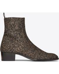 Saint Laurent - Wyatt Zippered Boot In Glitter - Lyst