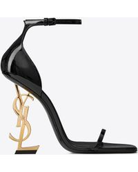 Saint Laurent - Opyum Sandals In Patent Leather With A Gold-toned Heel - Lyst