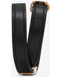 Saint Laurent - Ysl Double Wrap Bracelet In Black Leather And Light Bronze-toned Metal - Lyst