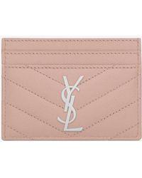 Saint Laurent - Credit Card Case In Pale Blush Textured Matelassé Leather - Lyst