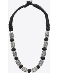 Saint Laurent - Folk Necklace With Silver-toned Metal Beads - Lyst