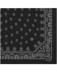 Saint Laurent - Bandana Square Scarf In Black And White Paisley Printed Cashmere And Silk Étamine - Lyst