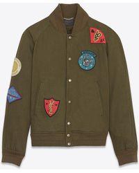 Saint Laurent - Teddy Multi-patch Jacket In Dark Khaki Denim Twill - Lyst