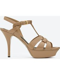Saint Laurent - Tribute 75 Sandal In Dark Powder Patent Leather - Lyst
