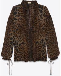 b8e13c0a Lyst - Saint Laurent Leopard-print Long-sleeve Peasant Blouse in Natural