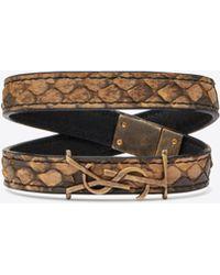 887ee01a7a0 Saint Laurent Studded Double Wrap Leather Bracelet in Black - Lyst