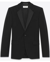 Saint Laurent - Veste de smoking en grain de poudre - Lyst