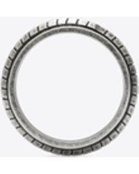 Saint Laurent - Folk Ring In Oxidized Silver-tone Metal - Lyst