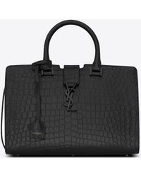 Saint Laurent - Small Cabas Ysl Bag In Black Crocodile Embossed Leather - Lyst