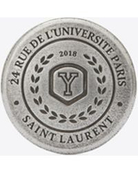 Saint Laurent - Love Pins University Badge In Silver-toned Tin - Lyst