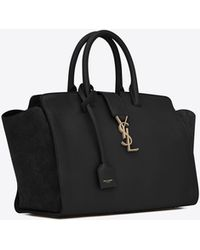 Saint Laurent - Small Monogram Downtown Cabas Leather And Suede Tote Bag - Lyst