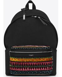 Saint Laurent - City Canvas Backpack With Zig-zag Embroidery - Lyst