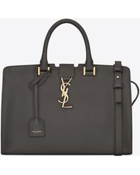 Saint Laurent - Small Cabas Bag In Dark Anthracite Leather - Lyst