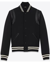 Saint Laurent | Classic Teddy Jacket In Black Wool Gabardine And Leather | Lyst