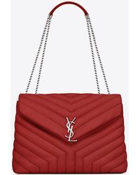 "Saint Laurent - Medium Loulou Monogram Chain Bag In Lipstick Red ""y"" Matelassé Leather - Lyst"