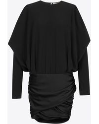 Saint Laurent - Draped Shoulder Mini Dress In Black Satin - Lyst