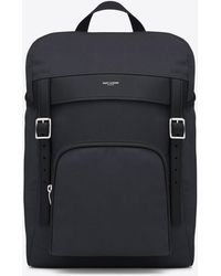 Saint Laurent - Hunting Rucksack In Navy Blue Canvas And Black Leather - Lyst