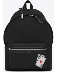 Saint Laurent - Sl Playing Cards City Backpack In Canvas - Lyst