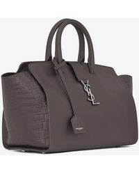 Saint Laurent - Downtown Small Cabas In Smooth And Crocodile Embossed Leather - Lyst