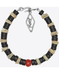 Saint Laurent - Bracelet In Mother-of-pearl, Gorgonian Coral And Silver-toned Brass - Lyst