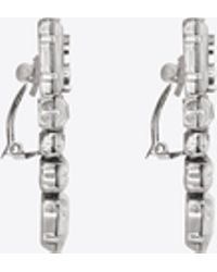 Saint Laurent - Smoking Earrings In Silver And Clear - Lyst