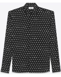 Saint Laurent - Yves Collar Shirt In Black And White Lipstick Dot Printed Twill Viscose - Lyst