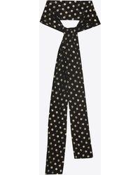 Saint Laurent - Narrow Scarf In Black Silk With Lamé Polka Dots - Lyst