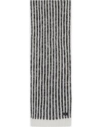 Saint Laurent - Scarf In A Black And Ivory Striped Wool Knit - Lyst