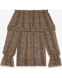 Saint Laurent - Gypsy Blouse With Smocked Shoulders In Brown And Black Leopard Silk Georgette - Lyst