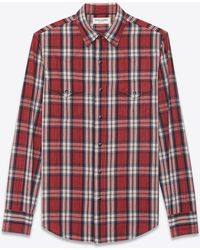 Saint Laurent - Western-style Shirt In Cotton With Red And White Checks - Lyst