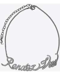 """Saint Laurent - """"rendez-vous"""" Chain Choker In Silver-toned Brass And Crystals - Lyst"""