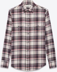 Saint Laurent - Western-style Shirt In Cotton With Beige, Black And Pink Checks - Lyst