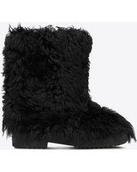 Saint Laurent - Furry Boot In Lambskin - Lyst
