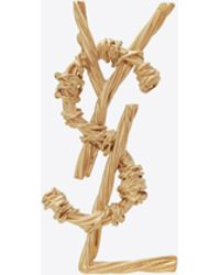 Saint Laurent Opyum Rope Brooch In Brass