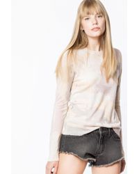 110e40c735dc93 Zadig & Voltaire Miss Striped Cashmere Sweater in Black - Lyst