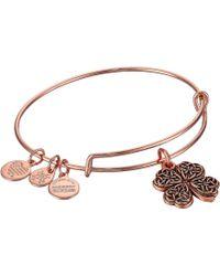ALEX AND ANI - Path Of Symbols-four Leaf Clover Iv Bangle (rafaelian Gold) Bracelet - Lyst
