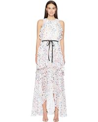 d677bfaaff384 ML Monique Lhuillier - Sleeveless Tie Waist Garden High-low Dress (gardenia  Combo White