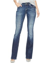Miss Me - Mid-rise Boot With Floral Embroidery And Sequins In Medium Blue (medium Blue) Women's Jeans - Lyst