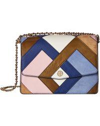 Tory Burch - Robinson Pieced Shoulder Bag (bright Navy/multicolor) Shoulder Handbags - Lyst